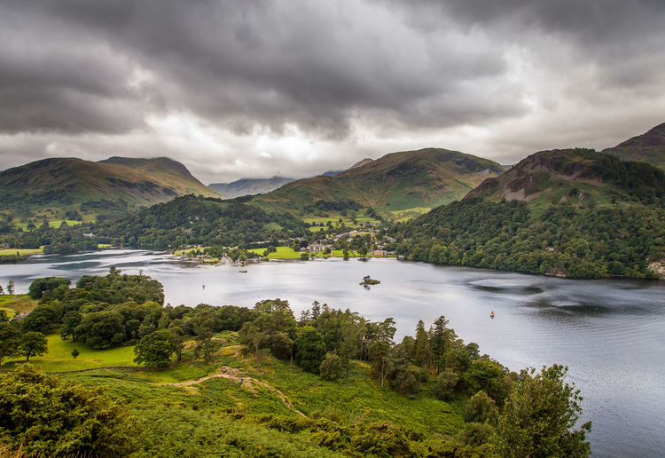 Lake District National Park Nature Clouds Lake Landscape Mountain Summer Ullswater, Lake District,