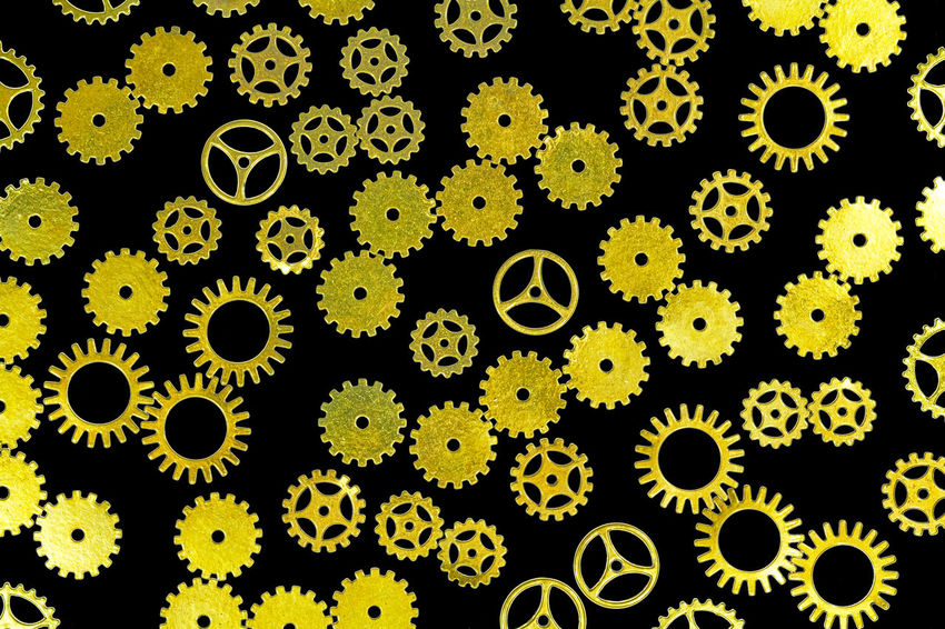 gears Abundance Backgrounds Beauty In Nature Biology Choice Circle Close-up Design Education Full Frame Gear Geometric Shape Healthcare And Medicine Indoors  Large Group Of Objects No People Pattern Science Shape Steampunk Variation Yellow