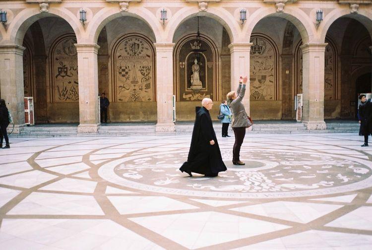 Contax T3 Kodak Portra 35mm Film Film Barcelona Montserrat People Watching Priest Monastery Walking