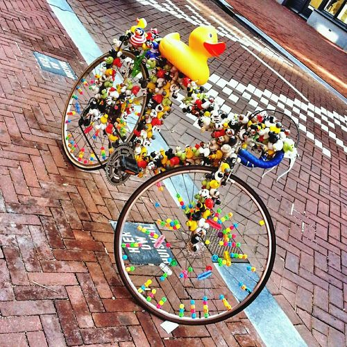 Bike's decorations The Street Photographer - 2016 EyeEm Awards MyCommute Bike Travel Photography Orangecountry Nerherlands Streetphotography Street Art Bicycle Decoration Ducky  Toys