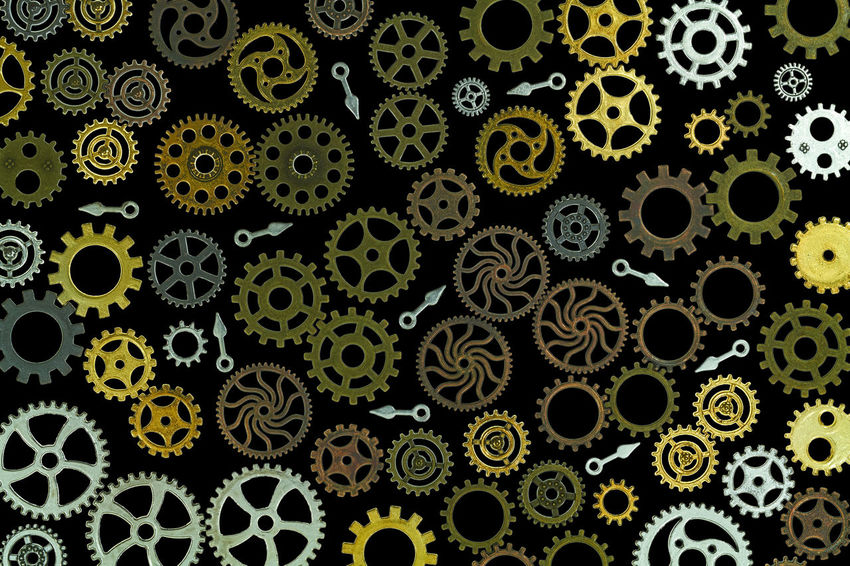 gears Backgrounds Biology Circle Close-up Design Floral Pattern Full Frame Gear Geometric Shape Green Color Growth Indoors  Leaf Multi Colored No People Pattern Plant Part Repetition Shape Steampunk Technology Textile