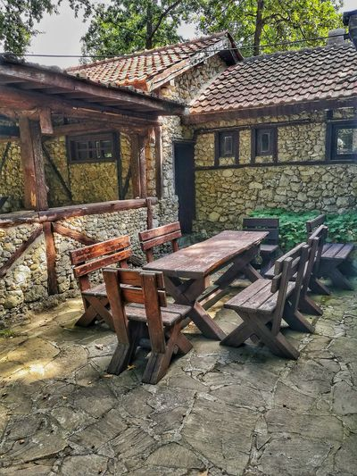 Architecture Built Structure Tranquility Outdoors Summer HuaweiP9Photography Travel Destinations Bulgarian Nature Bulgaria Nature Day Backgrounds Shadow No People Sunlight Chair Building Exterior Architecture Tree Nature