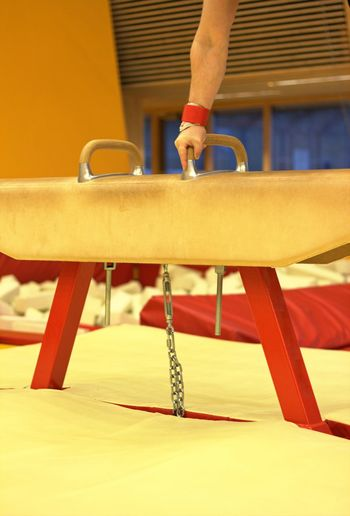Cropped hand of person holding pommel horse in gym