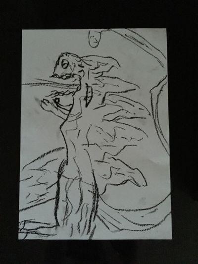 支度そっちのけで朝からゴジラ画 コンテ風 Godzilla おえかき 紙と鉛筆さえあれば Drawing - Art Product No People Sketch Pad Day 靴汚すぎよ 泥泥 さてとやるかっ!