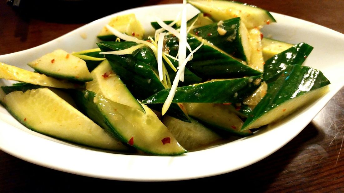 Spicy and sour cucumber with shaved scallions. Food And Drink Freshness Healthy Eating Close-up Focus On Foreground Serving Dish Appetizer Cucumbers Chinese Dim Sum Chinese Food Shanghainese Delicious Foods Vegetarian Dish