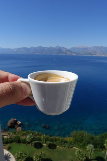 Coffee - Drink Espresso Drink Coffee Cup Food And Drink Coffee Cup Blue Beverage Hot Drink Sea Sea And Sky Mountain Antalya