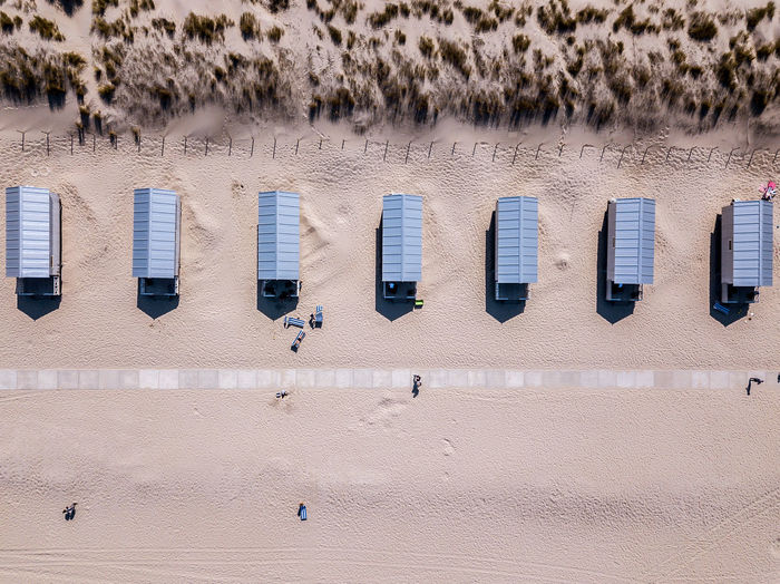 Huts on a beach seen from above