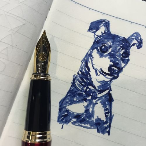 Drawing Dog Fountainpen