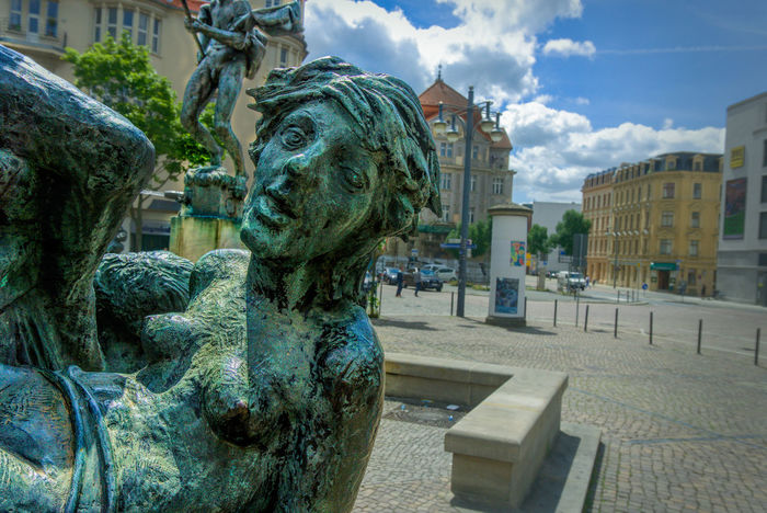 Fountain behind the market Church. Brunnen hinter der Marktkirche. Architecture Art And Craft Brunnenfigur Building Exterior Built Structure City City Figure No People Outdoors Sculpture Sky Statue Streetphotography