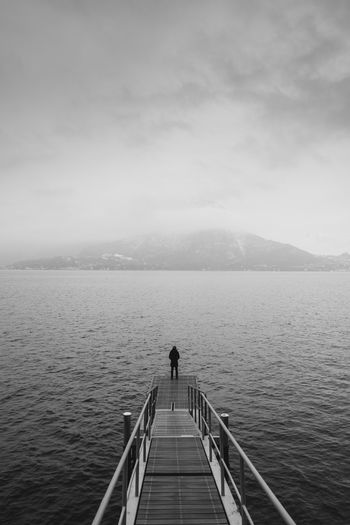 Cloud Pier Winter B&w B&w Photo B&w Photography Black And White Blackandwhite Blackandwhite Photography Cold Temperature Lake Landscape person Vertical Water