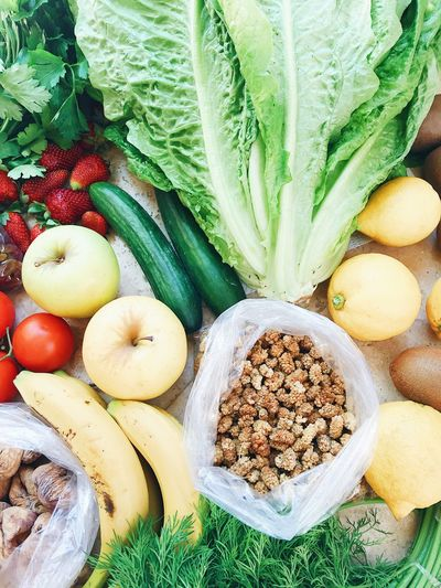 Directly above shot of fruits and vegetables on table