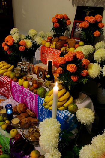 Memorias. Candle Business Finance And Industry Variation Fruit No People Flower Food Indoors  Multi Colored Day Freshness Spirituality Indoors  Arts Culture And Entertainment Mexico Tradition Tradicionesmexicanas Dia De Muertos México Ofrenda Al Dia De Muertos Indoors  Celebration Illuminated OfrendaFamiliar