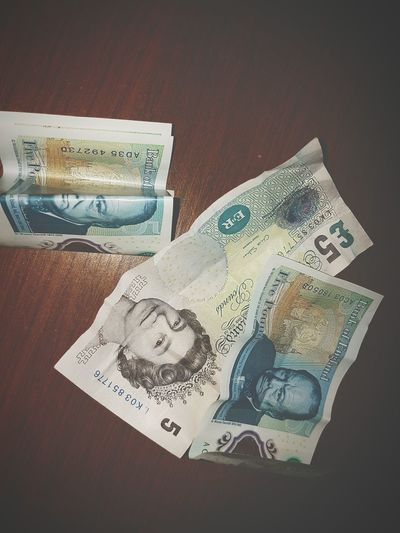 Finance Paper Currency Currency Number No People Investment Close-up Day Notes Money Fiva Five Pound Notes