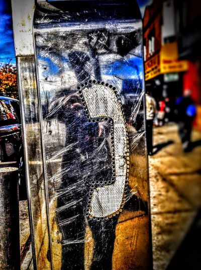 A selfie reflection on an old retired phone booth. That day it was very bright out and the sun provided just the right amount of light. CityPhotos Creative Spark New York City Phone Booth Phone Booth Reflection Photo Artistry Photography Reflection