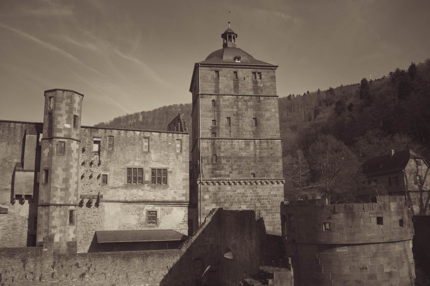 Architecture Bell Tower Building Exterior Built Structure Clock Tower Day Germany Heidelberger Schloss History Nature No People Outdoors Place Of Worship Religion Sky Spirituality Tower