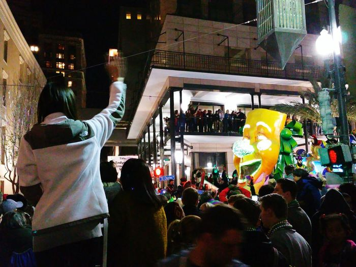 Krewe Of Endymion 2016 rolling on St. Charles Avenue in New Orleans. PARADE SEASON The Tourist Mission Mardi Gras Time Colors Of Carnival Street Photography Festive Parade Float Parade Cities At Night
