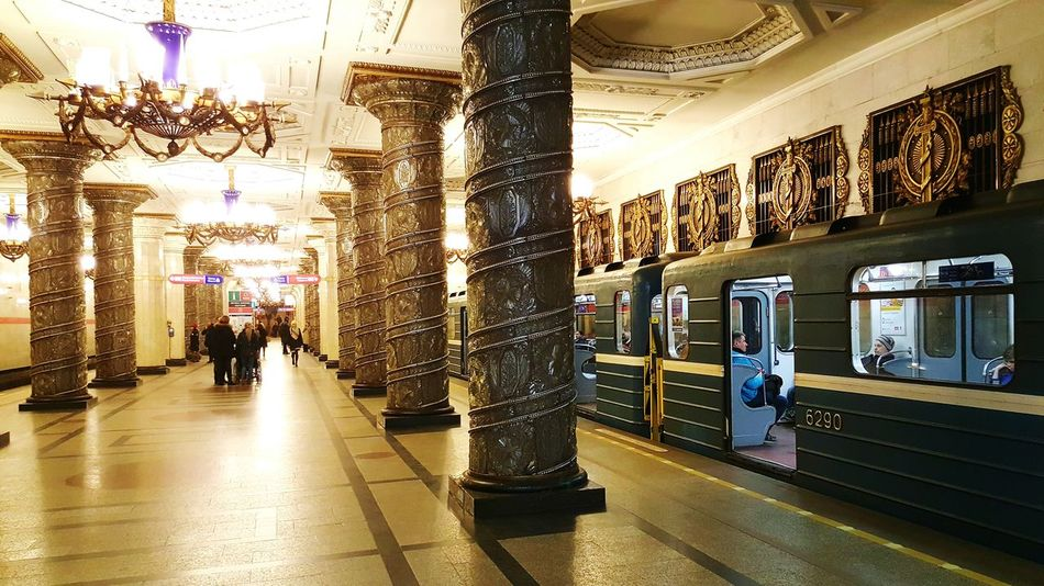 St. Petersburg Russian Metro Underground Platform Russia St. Petersburg, Russia Metro St. Petersburg Metro Station Underground Station  Comunism Era Communist Architecture Built Structure Architecture Subway Indoors  Transportation People Avtovo Metro Station Avtovo Ceiling Ceiling Lights Station Columns