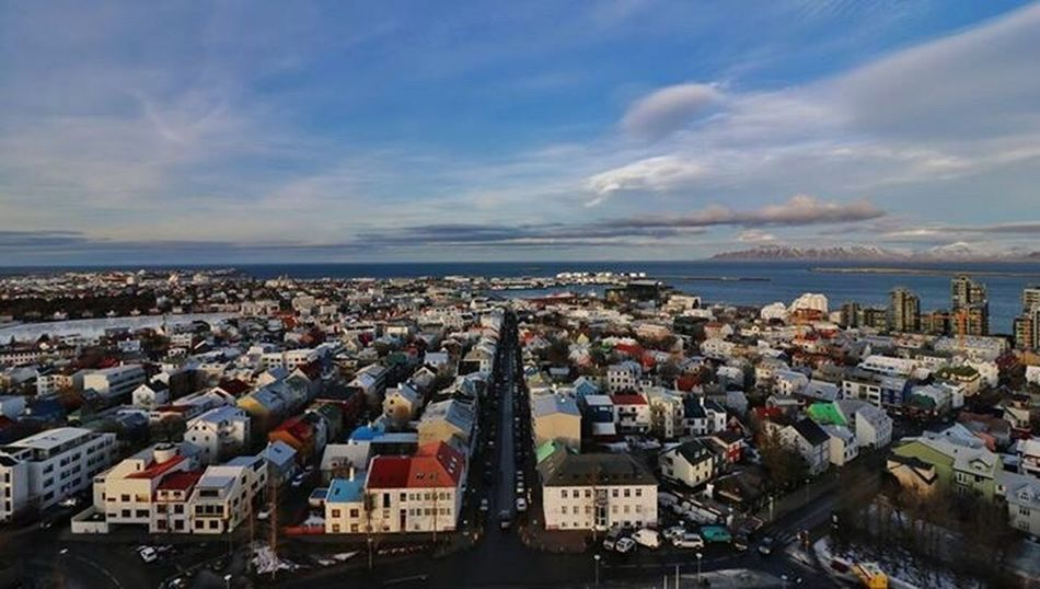Iceland panorama Cityscape City Water Architecture Built Structure Iceland Memories Sea Building Exterior Residential Structure Residential Building Sky Crowded Cloud - Sky Residential District Aerial View Outdoors Blue Day City Life Cloudy