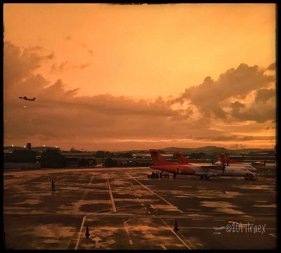 Take off Transportation Sky Sunset Land Vehicle Nature Airplane Cloud - Sky No People Airport Runway Outdoors Day Passenger Boarding Bridge