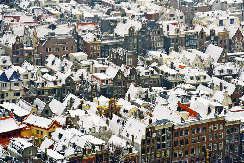 Amsterdam in winter The Netherlands Winter Wintertime Aerial Photography Aerial View Architecture Building Exterior Built Structure City Cityscape Close-up Crowded Day Holland❤ House Outdoors Roof Snow Town Typical Dutch