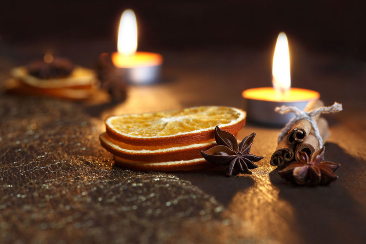 Advent Burning Candle Close-up Diya - Oil Lamp Flame Heat - Temperature Illuminated Indoors  No People