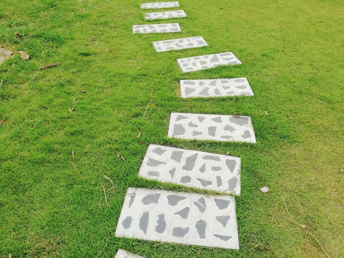 High angle view of text on grassy field