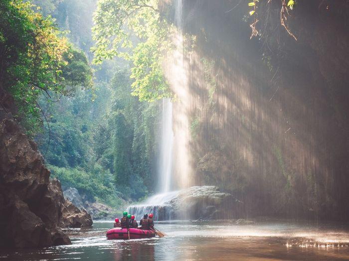 Water Beauty In Nature Nature Waterfall Scenics Outdoors Tree Nautical Vessel Day Motion Sky People Adult Travel ชีวิตคือการเดินทาง Thailand ฅนสร้างภาพ น้ำตกทีลอเล อ.อุ้มผาง น้ำตกทีลอเล อุ้มผาง