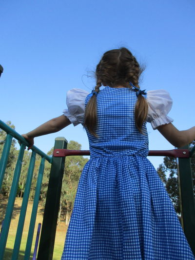 Braids Blue Braided Hair Brown Hair Brunette Childhood Clear Sky Day Dorothy Gingham One Person Outdoors People Playground Railing Real People Rear View Sky Standing Vichy