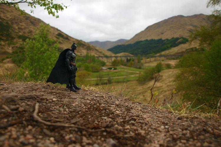Batman on the lookout for the Hogwarts Express at Glenfinnan Scottish Highlands