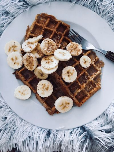 Food Healthy Food Healthy Eating Lifestyles Breakfast Bannana Waffle Food Food And Drink Freshness Sweet Food Ready-to-eat Indoors  Still Life Plate Sweet High Angle View Indulgence Baked Dessert No People Close-up Temptation Table Serving Size Directly Above Unhealthy Eating