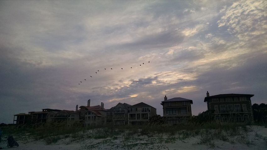 Bird House Cloud - Sky Sky Flock Of Birds Built Structure Outdoors No People Sunset Flying Animal Themes Nature Day Houses Beach Front Beach House