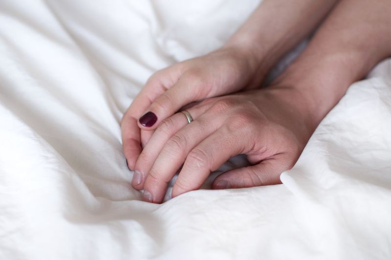 Married couple in bed holding hands Wedding Ring Sleep Time Care Emotion Love Sensual 💕 Sensitive White Sheets Sleepping Morning Laziness Lazy Day Bedtime White Background Cozy Bedroom Honeymoon Married Wife Husband Relationship Relationshipgoals Relaxing Moments Couple Human Body Part Bed Furniture Sheet Linen