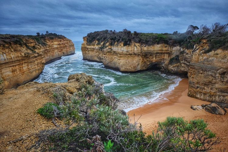 Rock formations at loch ard gorge in port campbell