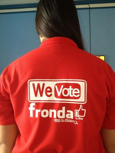 Vote My Lolo Manny Fronda for Mayor and My Uncle Jr Fronda for councilor!