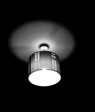 Black And White Glow In The Dark Light And Dark Looking Up Lampshade Pattern Noir EyeEmNewHere EyeEm Best Shots Lighting Equipment Low Angle View Indoors  Light Bulb Hanging