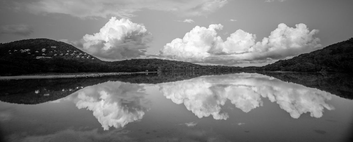 Beauty In Nature Black And White Cloud Cloud - Sky Cloud Reflections Concordia Eco Resort Day Lake Landscape Monochrome Mountain Nature No People Outdoors Panorama Reflection Salt Pond Scenics Silence Sky St John USVI St. John St. John, USVI Water Water Reflections