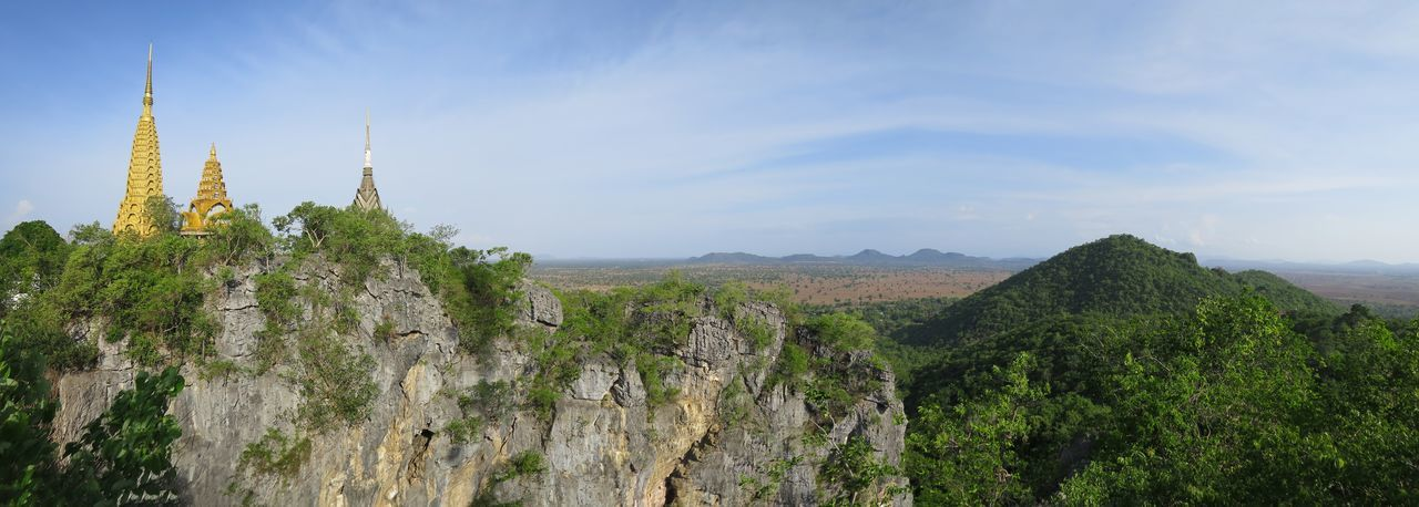 Panorama from the Top of the Bat Cave Bat Cave Bat Caves Battambang Beauty In Nature Blue Sky And Clouds Cambodia Day Forest Hills Landscape Lush - Description Lush Green Mountain No People Outdoors Panorama Sky Stupa Stupas Summer Temple Temple - Building Top Of The Mountains