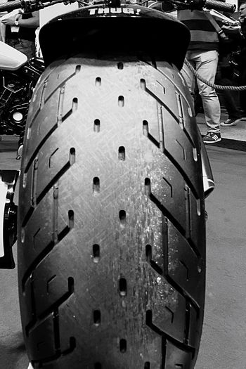 Fat Tyre Huge Wide Rubber Indian Motorcycle Rear View Rear Wheel Custom Bikes Blackandwhite