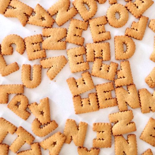 Directly above shot alphabet cookies
