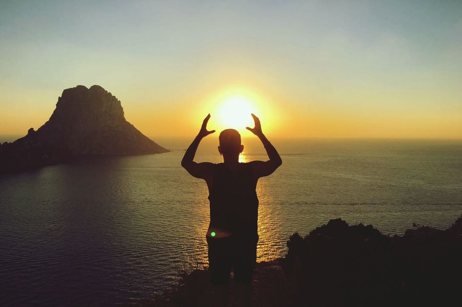 Sunset One Person Silhouette Sun Rear View Horizon Human Body Part Nature Sunlight Horizon Over Water People Landscape_Collection Ibiza, Spain Travel Destinations Natural Phenomenon Beauty In Nature Es Vedra, Sunrise, Yellow, Orange, Scenic, Clouds, Beach, Sea Tranquility Break The Mold Es Vedrá Summer TCPM Energy Energy Place Energía Neighborhood Map The Great Outdoors - 2017 EyeEm Awards The Great Outdoors - 2017 EyeEm Awards