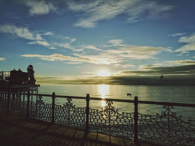 Sunset Majestic Sky Beauty In Nature Travel Destinations The Joy Of Life Sunset Lovers Birds Of EyeEm  My Medicine Traveler Holiday Memories Brighton Pier Sea Horizon Over Water Love ♥ HuaweiP9