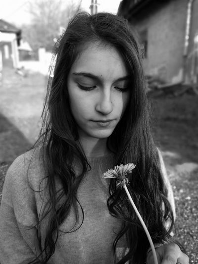 Depressed Calm Alone Long Hair One Person Young Adult Outdoors Portrait Beauty Flower Blackandwhite Monochrome Dark Dandelion Village Slovakia