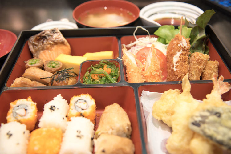 Close-up of japanese food in tray