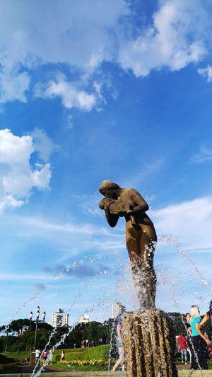 Momy. Motion Cloud - Sky Sky Spraying Statue Water Sculpture Outdoors No People Day Nature Jardin Botanico Jardim Art Is Everywhere
