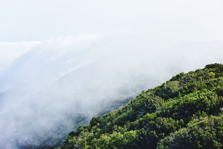 Clouds on the mountains on la gomera canary island in spain