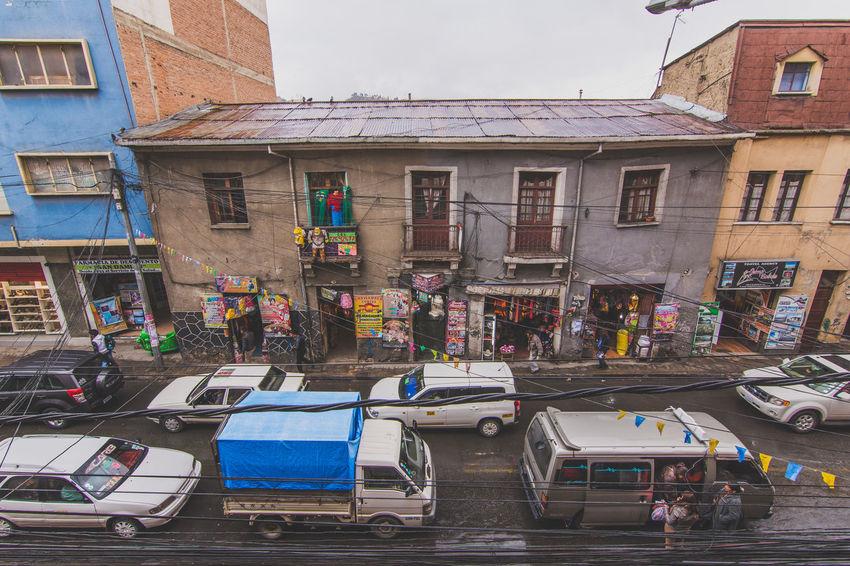Architecture Built Structure Building Exterior Garbage Water Day Sky Unhygienic City Life Messy Multi Colored La Paz BOLIVIA ❤ Bolivia City La Paz, Bolivia City Life Transportation Bolivian Urban Scene