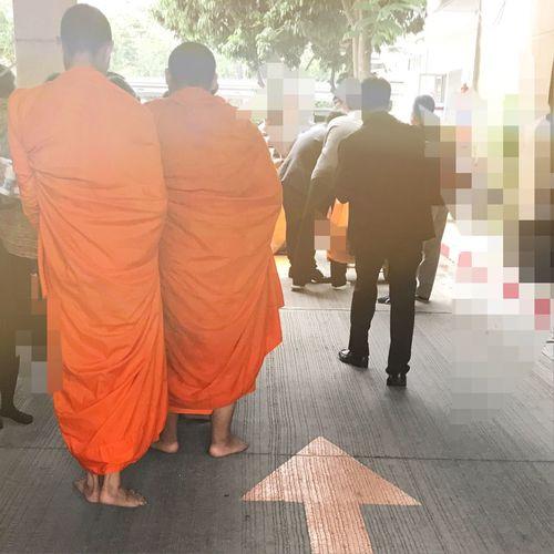 ใส่บาตรพระสงฆ์ Merit Merit-making Priest Rear View Men Full Length Real People Togetherness Outdoors Day Adult Adults Only Only Men People Monks