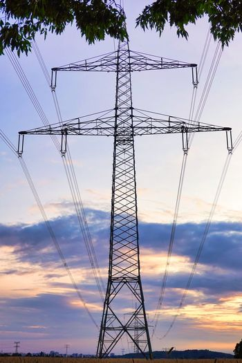 Sky Cable Electricity  Connection Electricity Pylon Low Angle View Power Line  Fuel And Power Generation Power Supply Technology Cloud - Sky No People Nature Sunset Outdoors Metal Silhouette Built Structure Architecture Tall - High