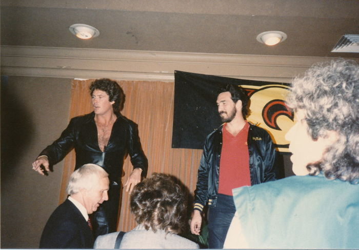 """1985 - The Hoff is promoting his new album """"Night Rocker."""" 1985 Blast From The Past David Hasselhoff Enjoyment Front View Night Rocker Tampa Fl The Hoff"""