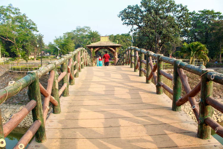 wooden bridge at the park Direction Tree The Way Forward Plant Architecture Nature Day Footpath Built Structure Real People Railing Rear View Incidental People Sunlight Growth Sky Men Full Length People Bridge Outdoors Diminishing Perspective Footbridge